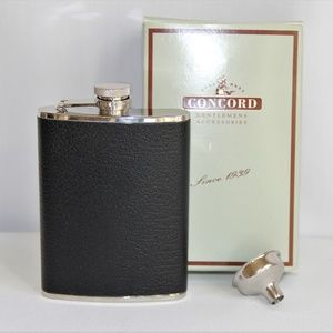 New Black Bison Leather Stainless Steel Flask